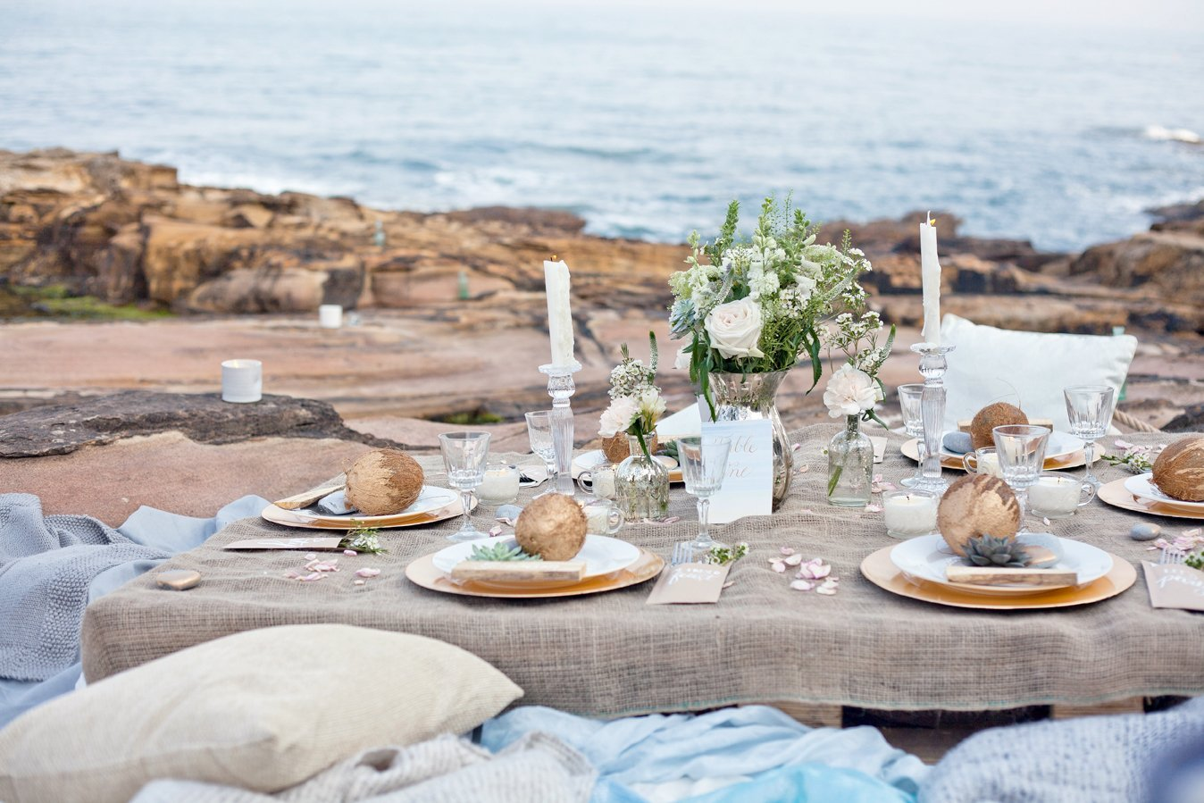 tablescape summer beach wedding in northumberland