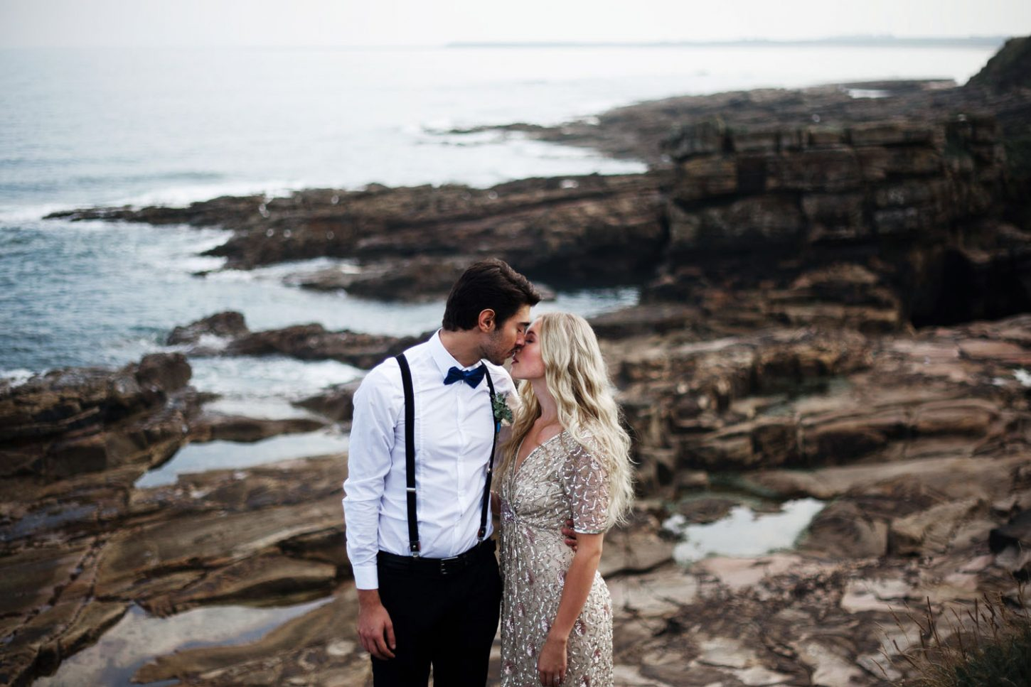 Beach Wedding Northumberland -Intimate Portrait of Bride and groom