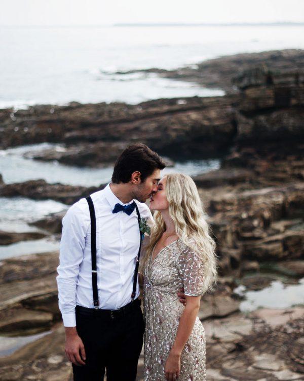 Beach Wedding Northumberland -Intimate Portrait of Bride and groom