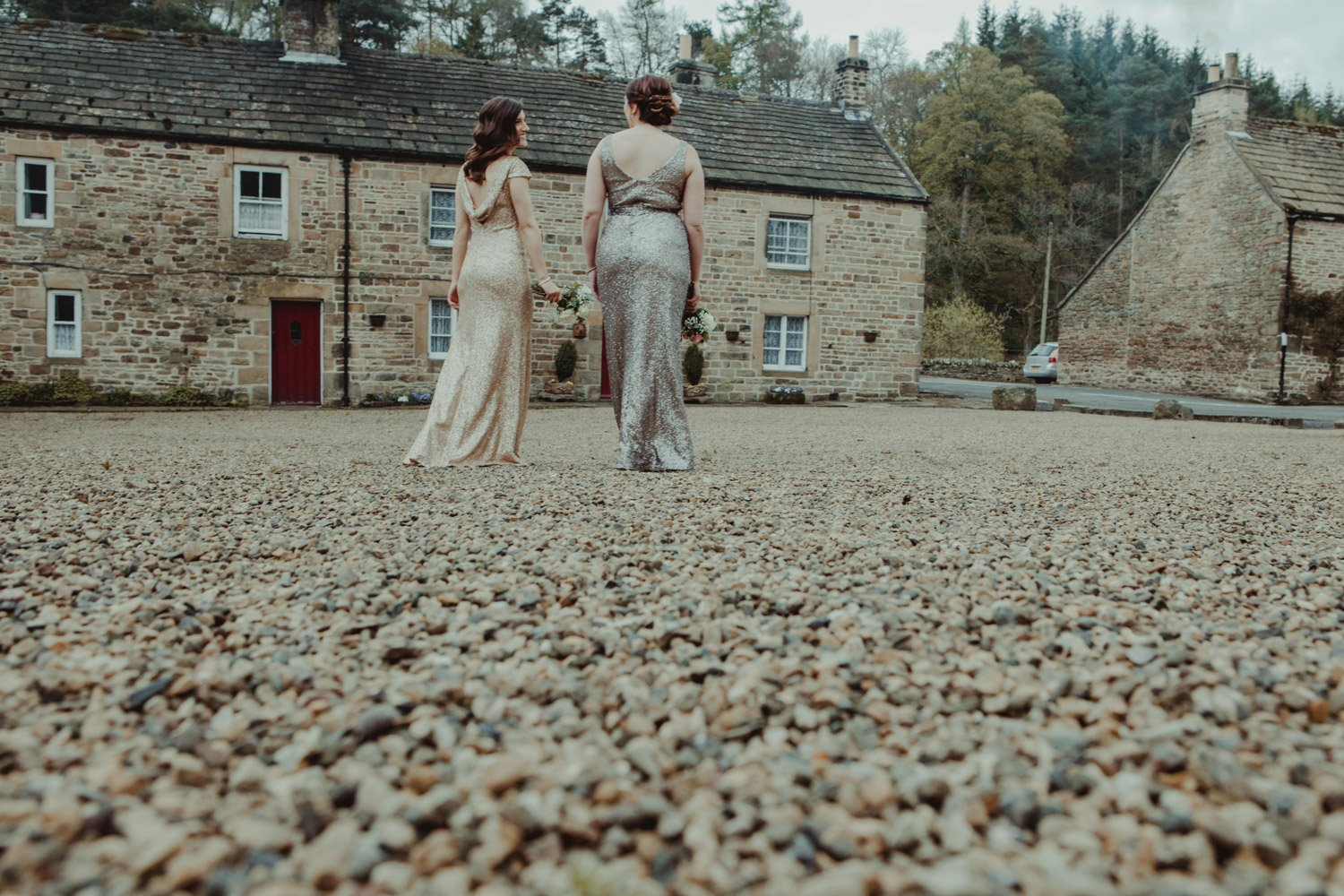 Healey Barn Wedding - Bridesmaids about to leave for the wedding from the Lord Crewe Arms Blanchland