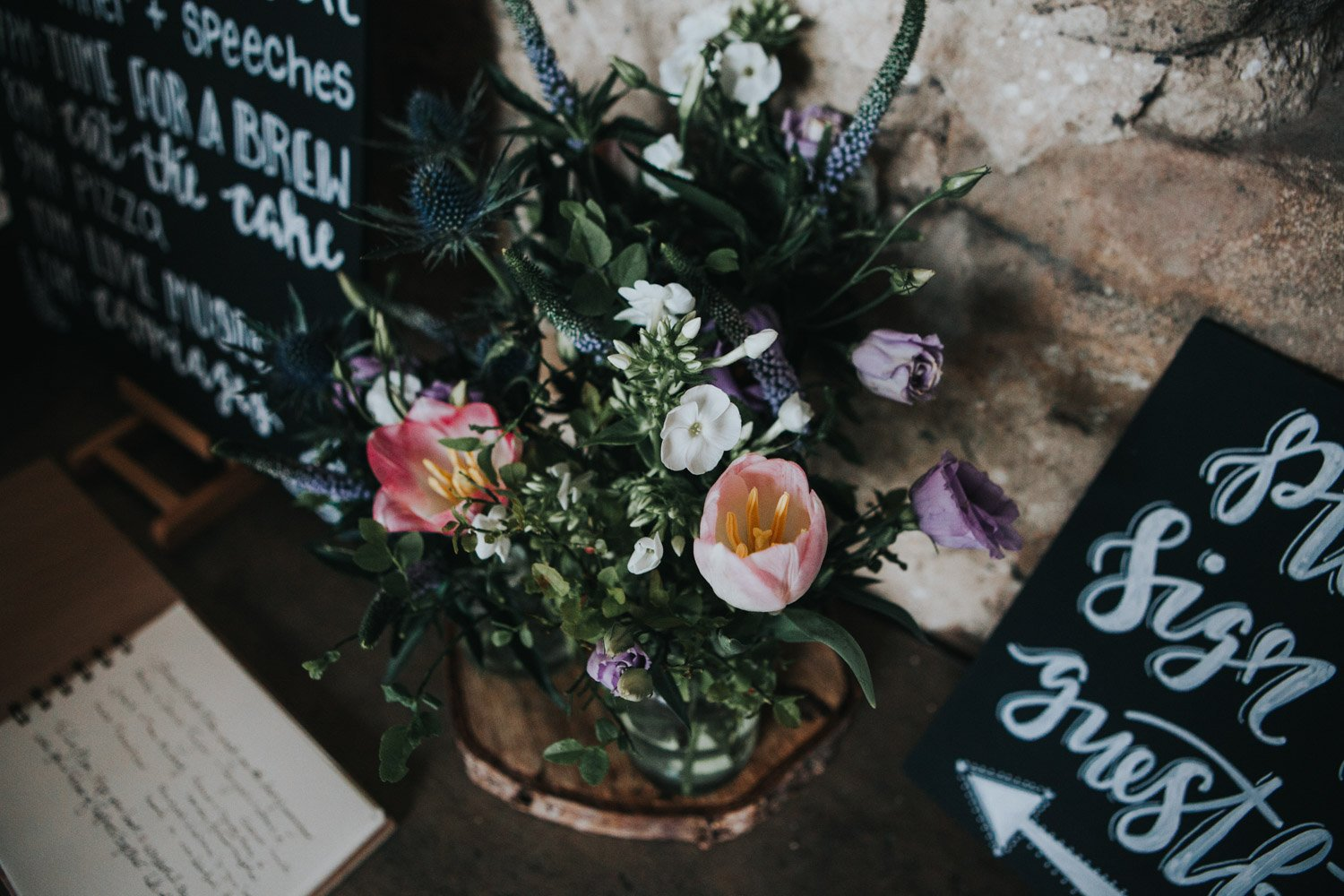 Healey Barn Wedding - guest book table flowers and signs