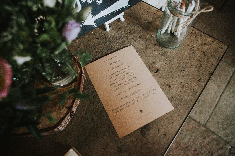 Healey Barn Wedding - order of service