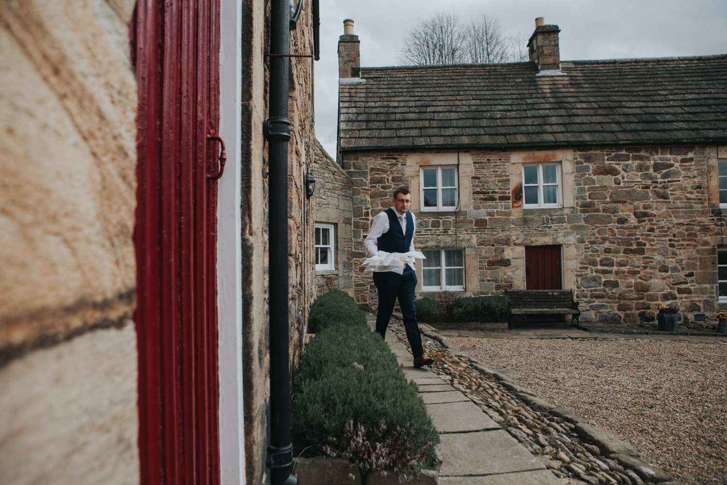 Healey Barn Wedding - Groom prep at the lord crewe arms blanchland