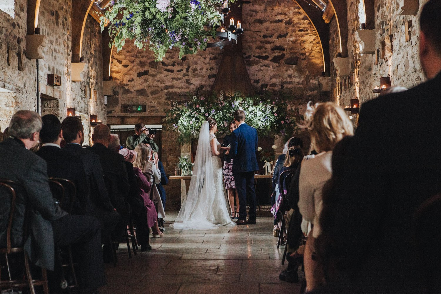 Healey Barn Wedding - Bride and Groom exchanging vows