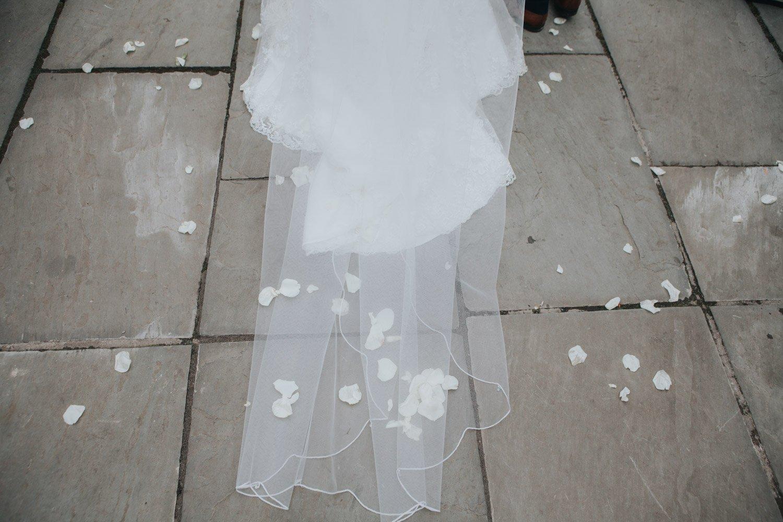 Healey Barn Wedding - Bride and groom confetti