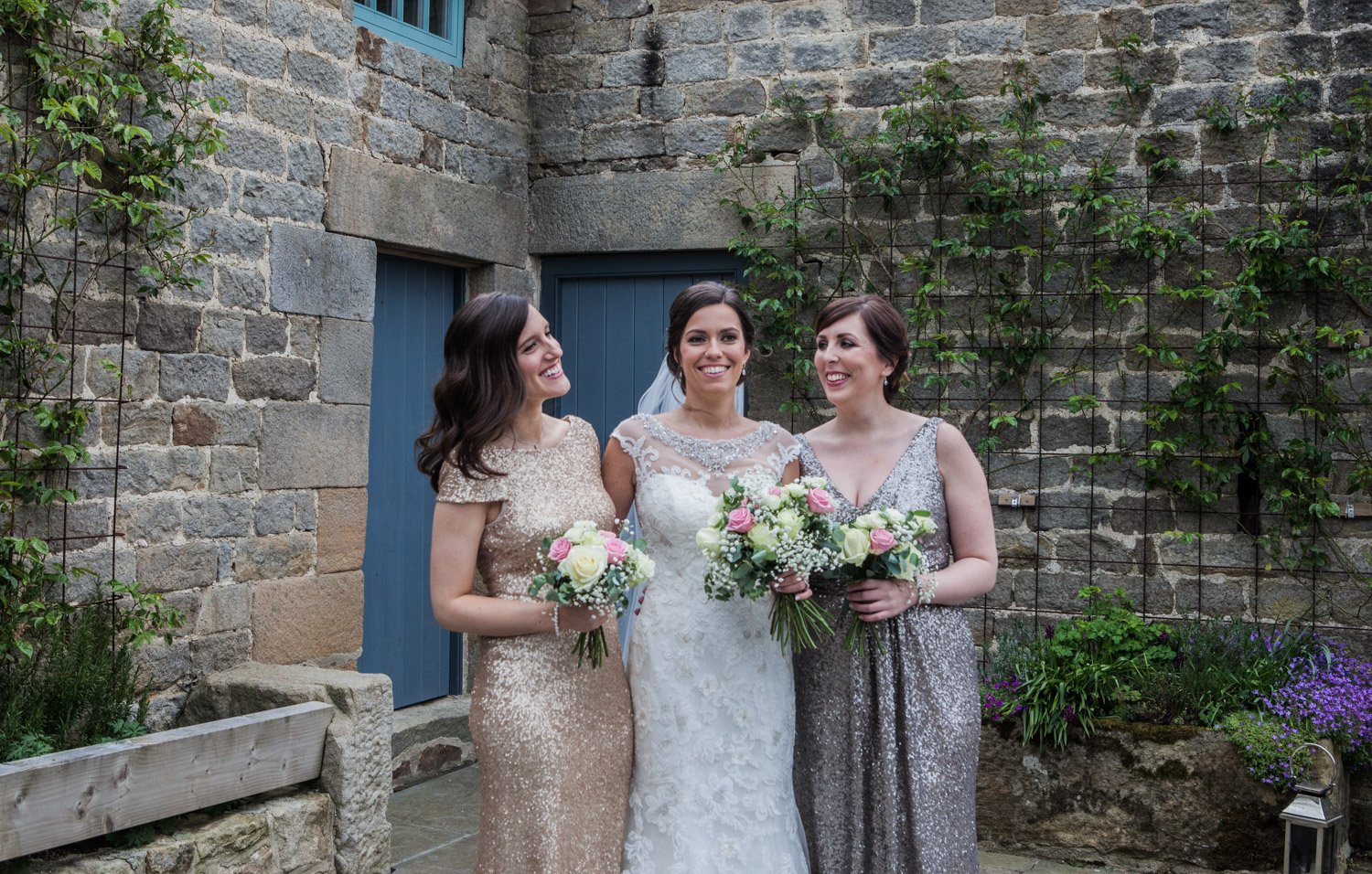 Healey Barn Wedding - Bride and bridesmaids