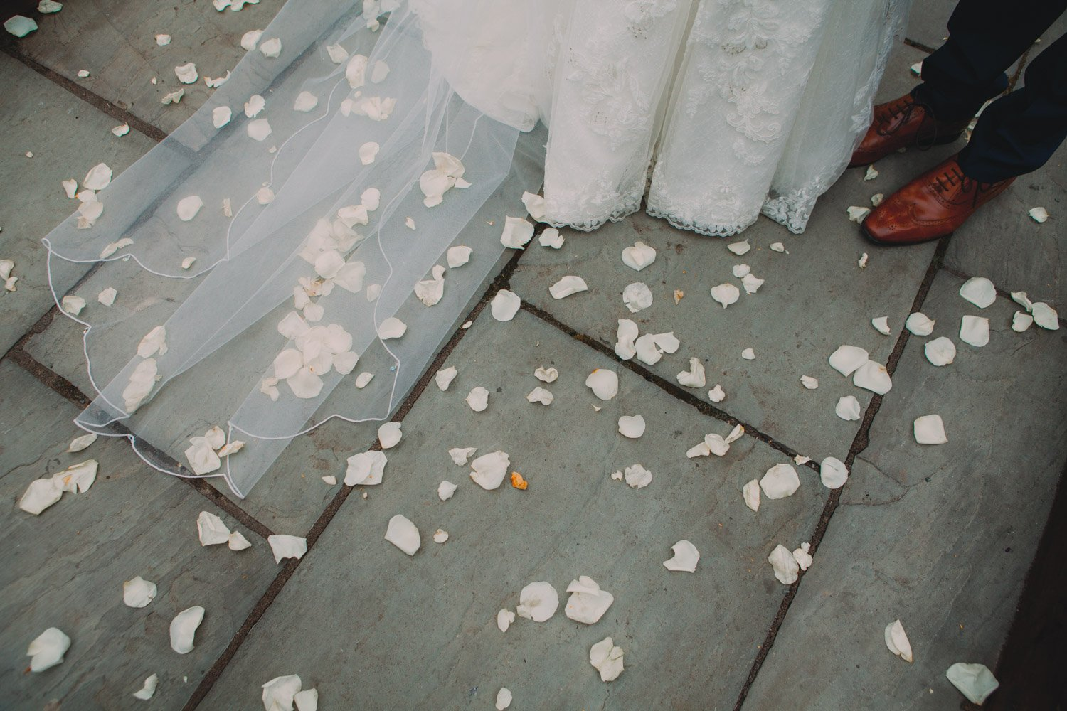 Healey Barn Wedding - white rose petal confetti