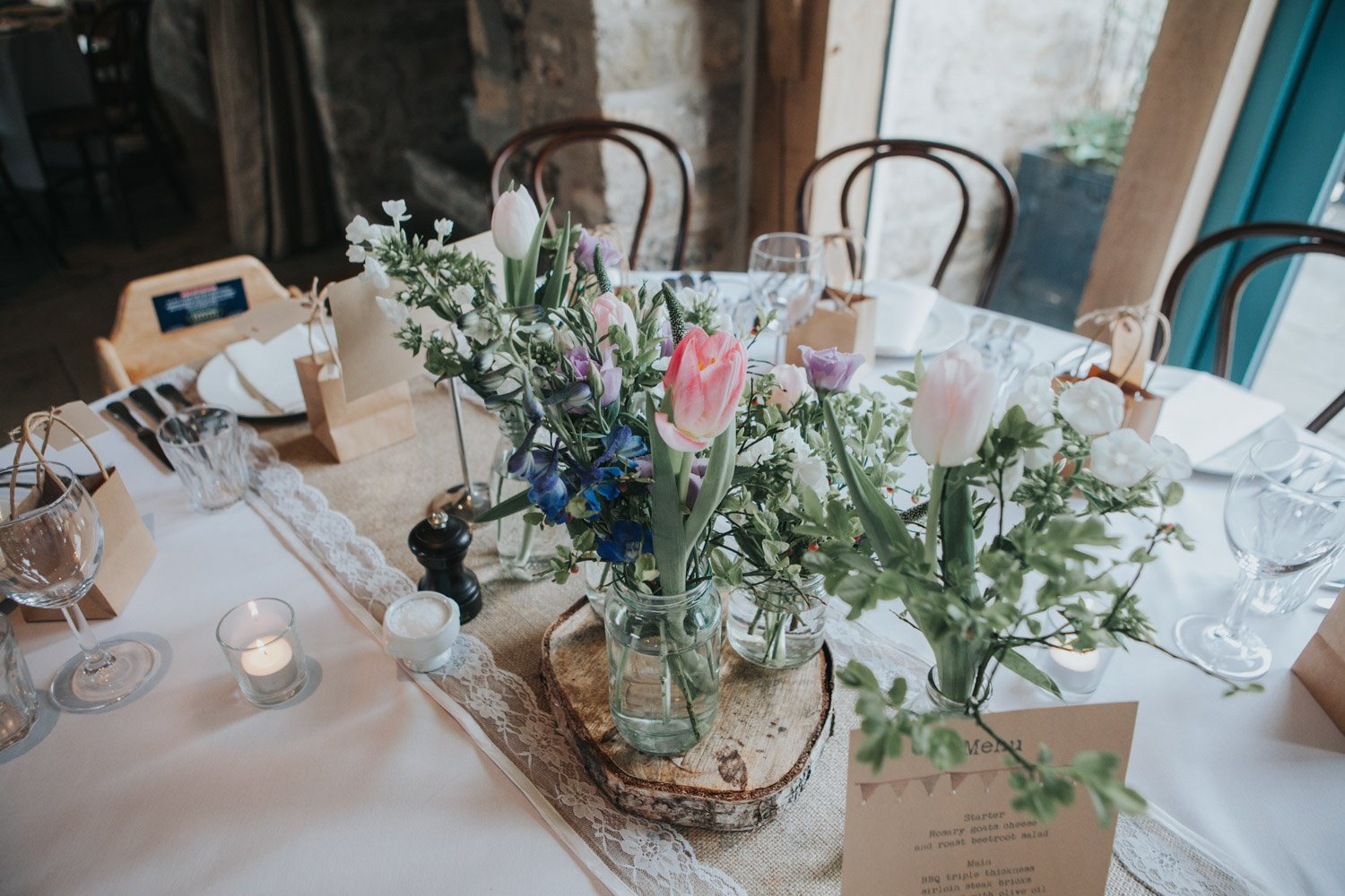 Healey Barn Wedding - tablescape and flowers