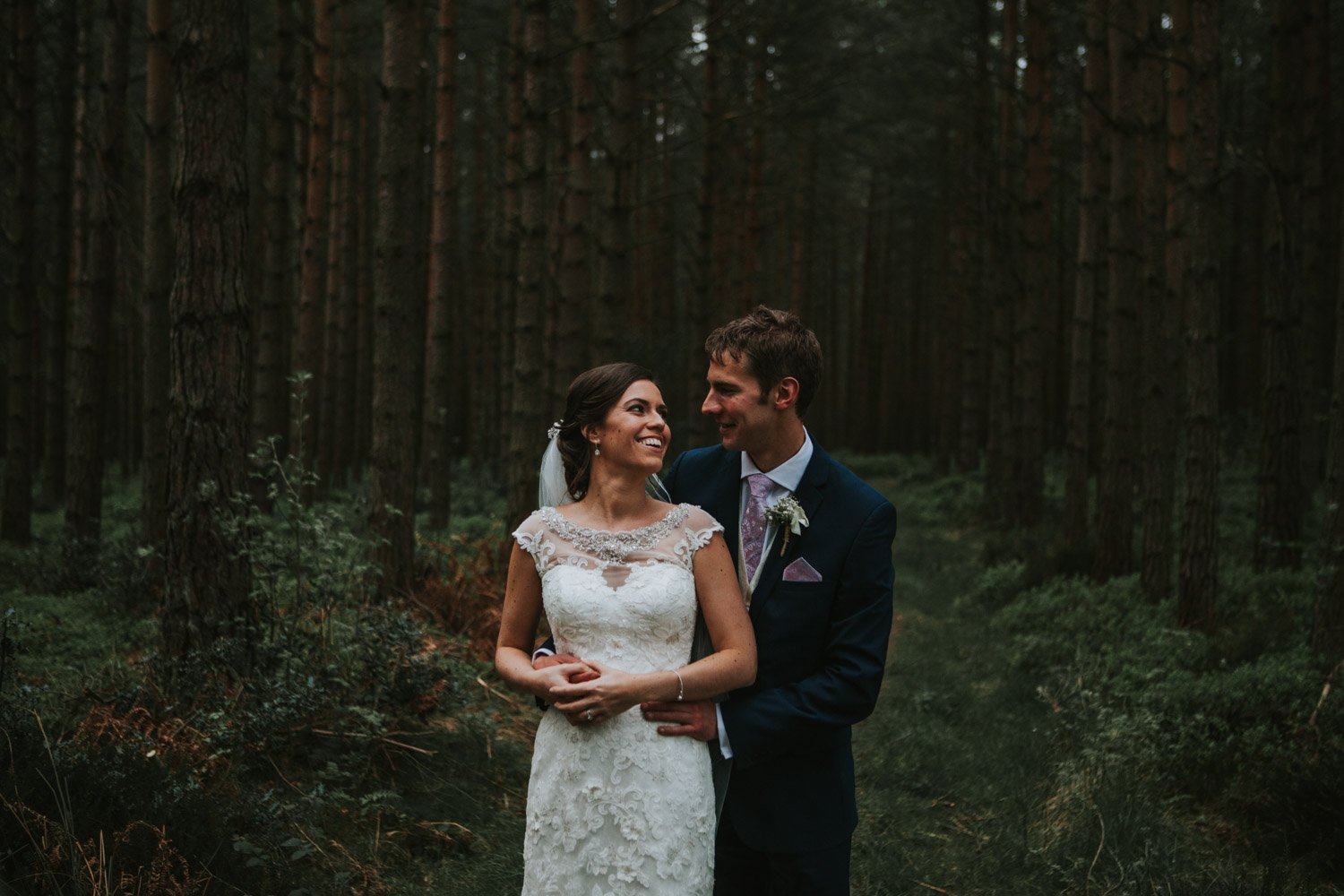 Healey Barn Wedding - Bride and Groom Portraits in the woods