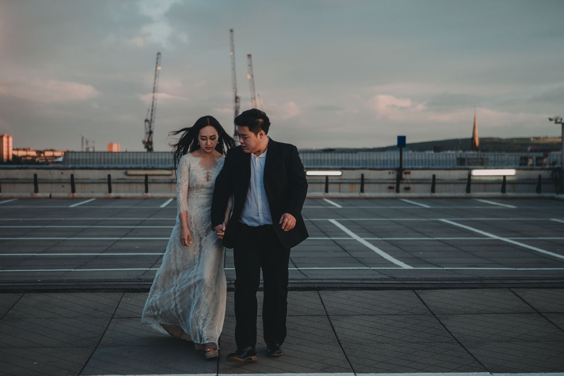 Newcastle City Wedding - night portrait of bride and groom on rooftop