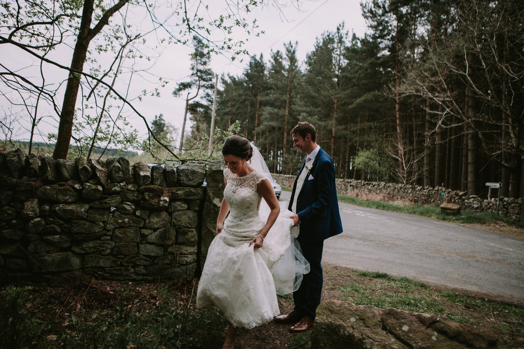 Healey Barn Wedding Photographer - Bride and Groom woodland portrait