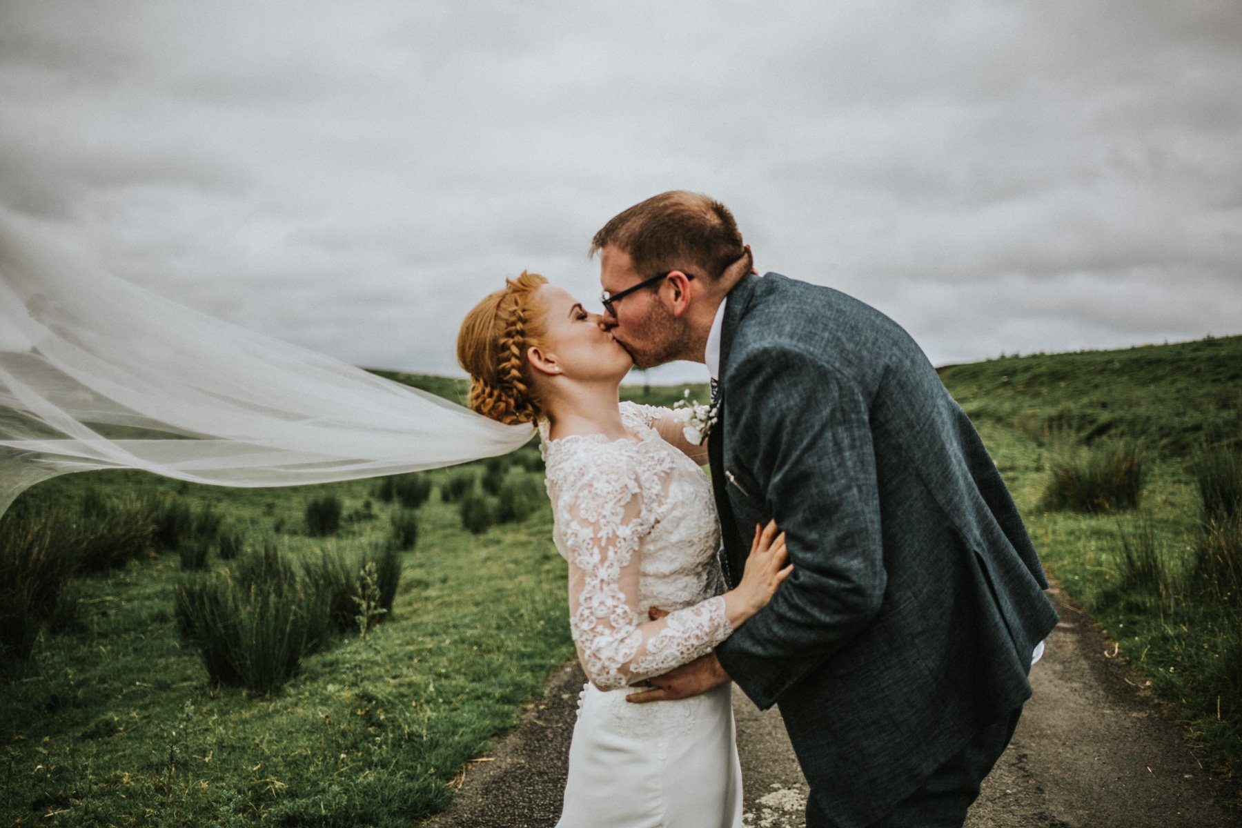 North East Wedding Photographers - cathedral veil blowing in the wind