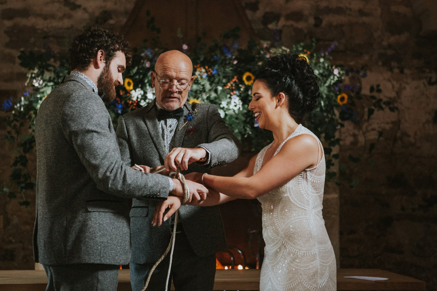 Northumberland Wedding Photographer - Handfasting ceremony at Healey Barn