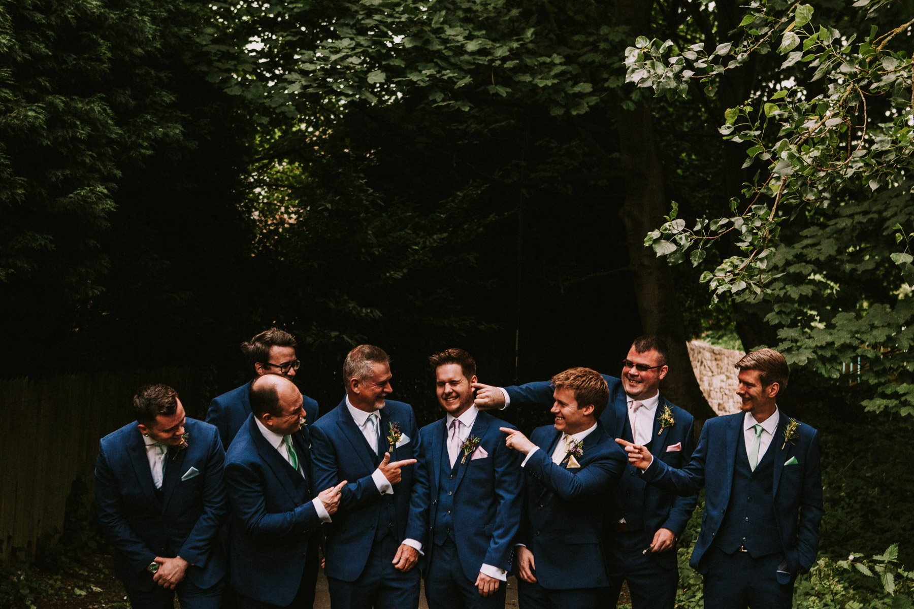 summerhill bowling club wedding - groom and groomsmen outdoor portrait
