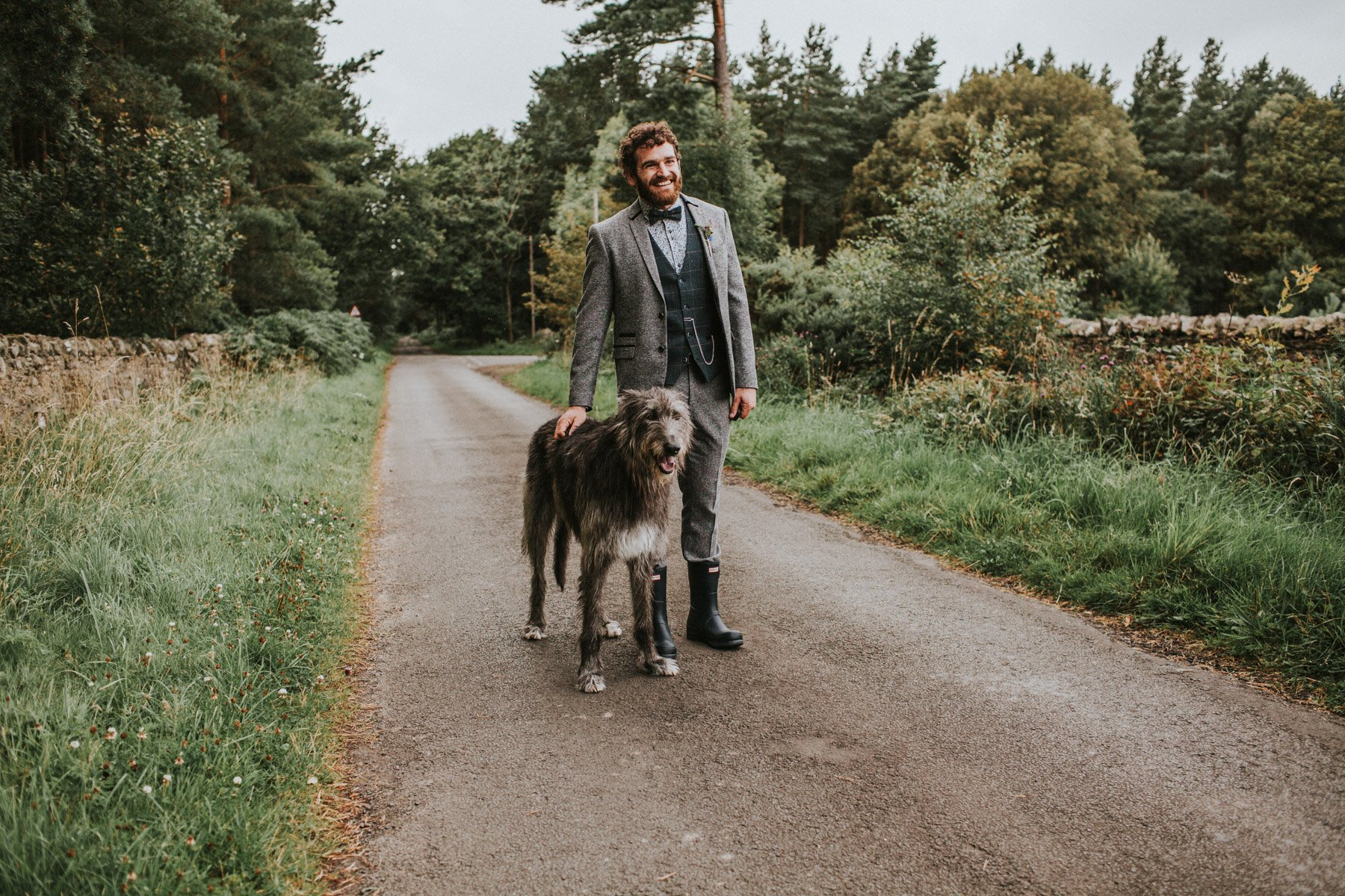Healey Barn Wedding photography - the groom and his dog