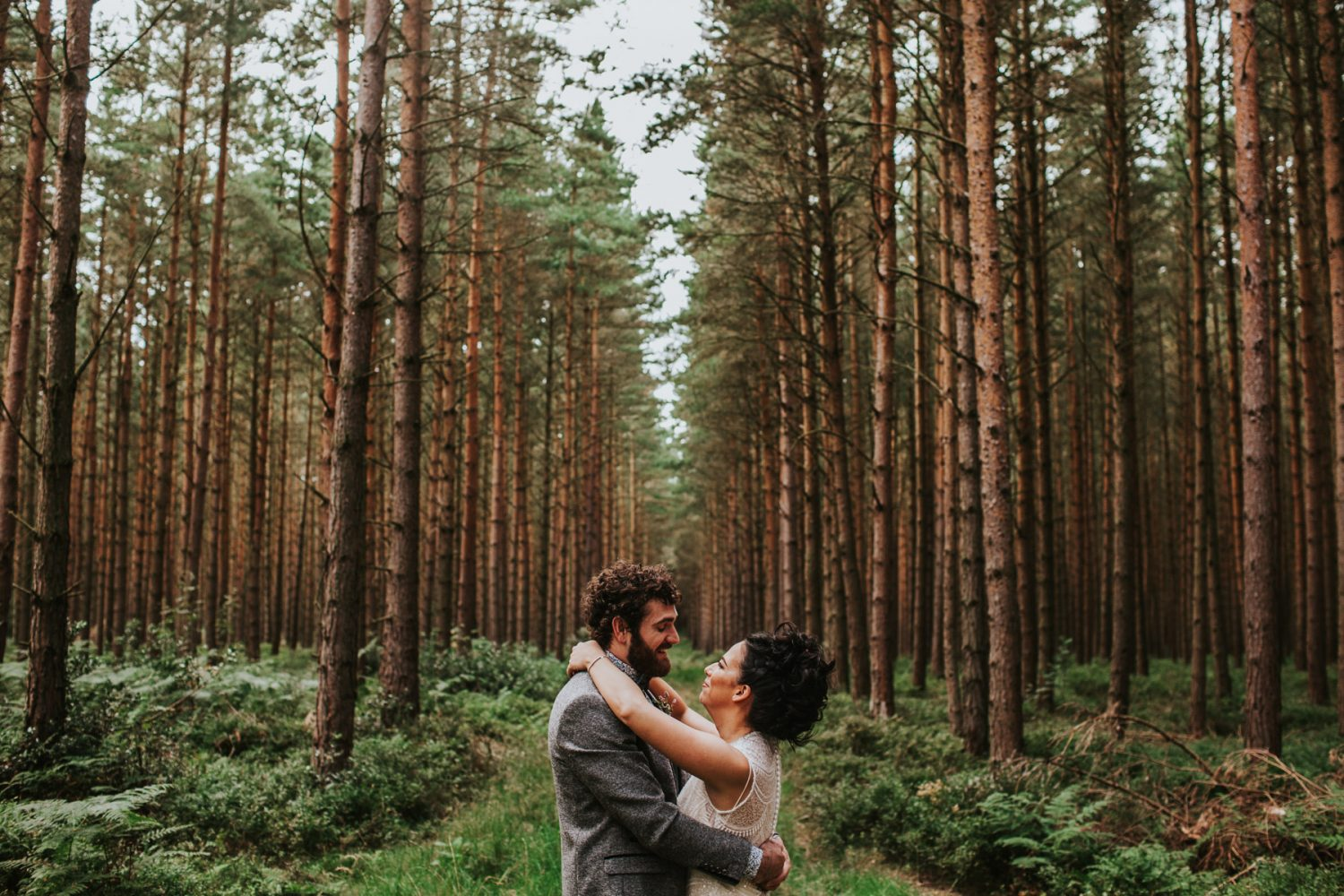 Healey Barn Wedding - Couple portraits in the woodland forest