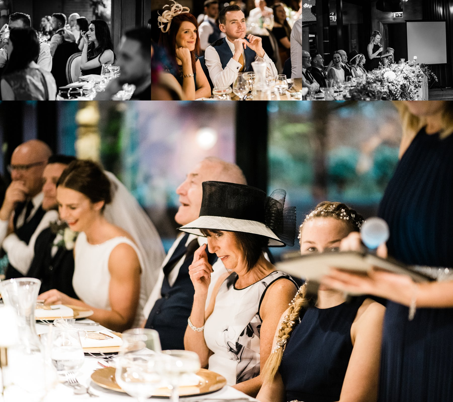 mother of the bride wiping tear Le petite Chateau wedding - Newcastle Wedding Photographer