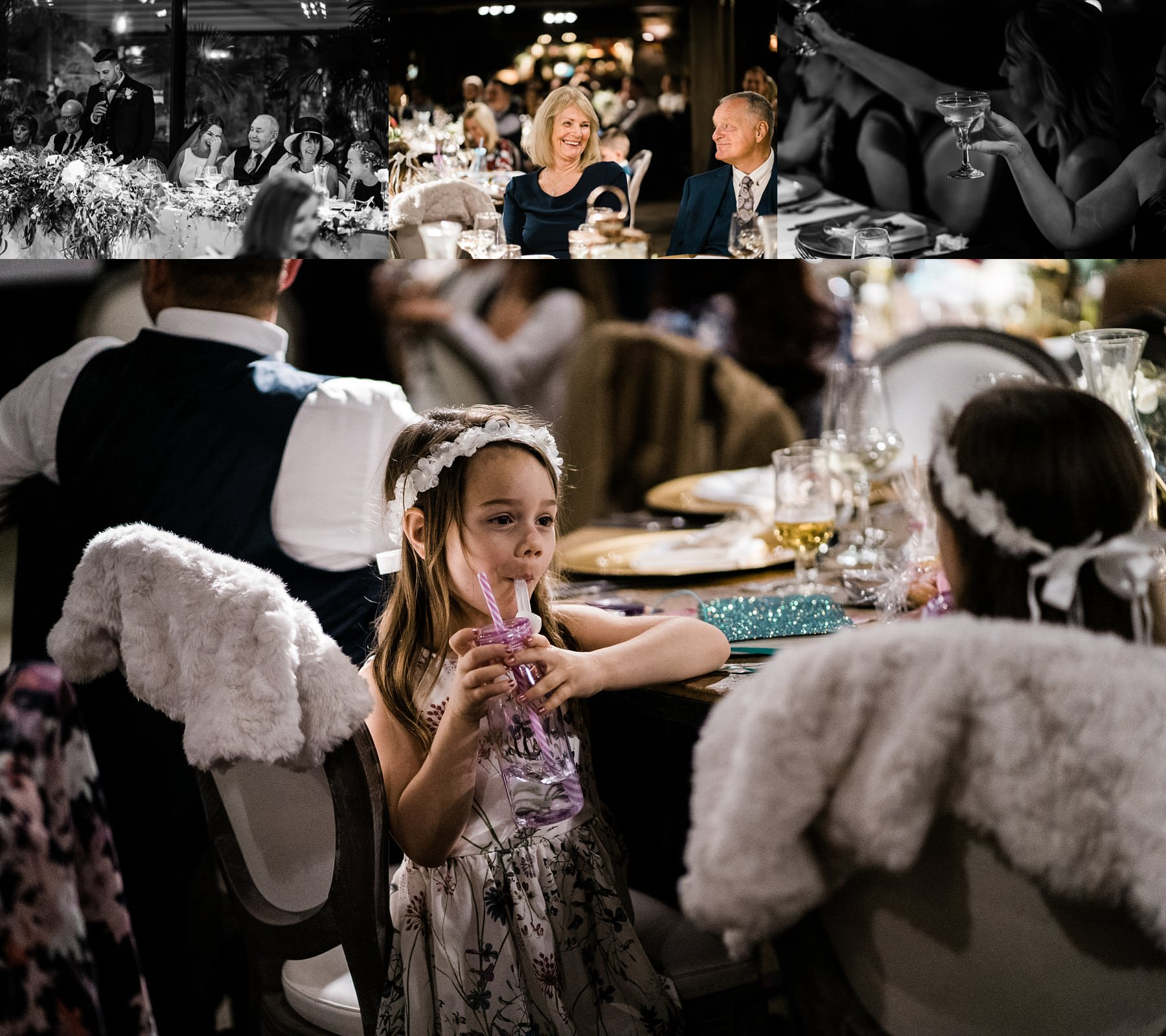 Wedding reception flower girl Le petite Chateau wedding - Newcastle Wedding Photographer