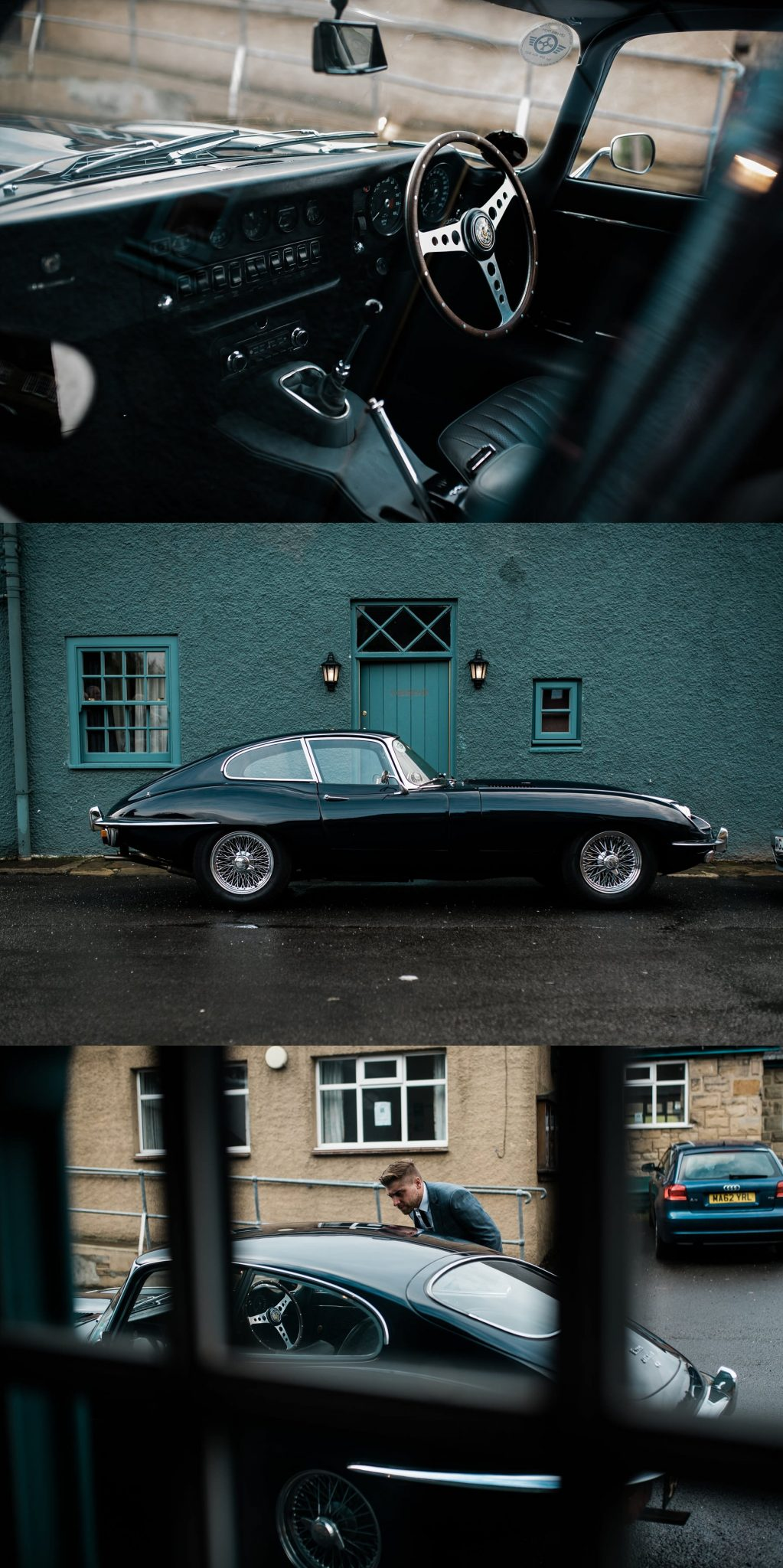 Jaguar E Type Wedding Car - Le petit Chateau wedding photographer