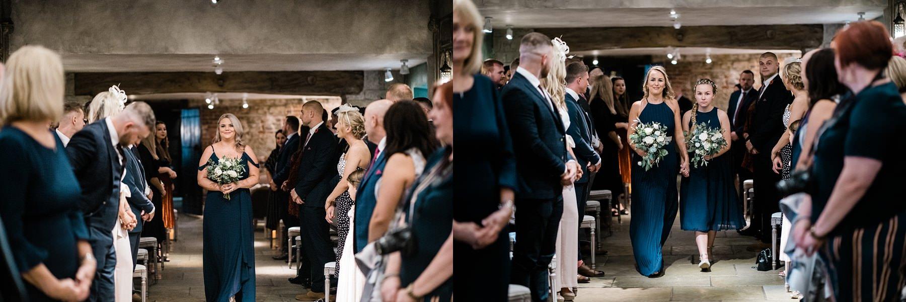 Bridesmaids walking down the aisle Le petite Chateau wedding - North East Wedding Photographer