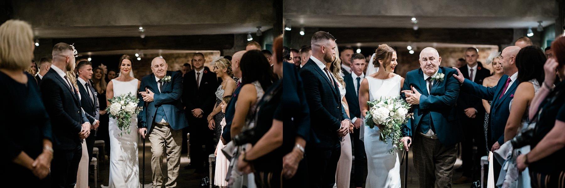 Bride walking down the aisle Le petite Chateau wedding - North East Wedding Photographer