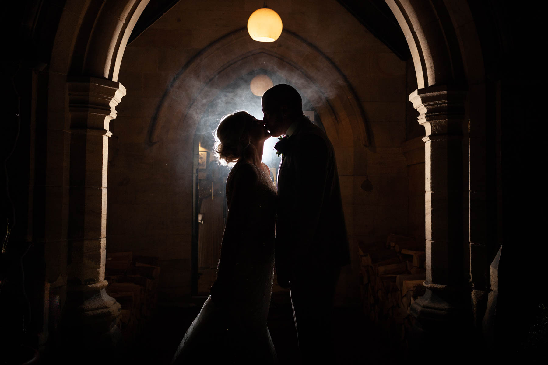 Jesmond Dene House Wedding Photographer - Night Time shot with smoke bomb