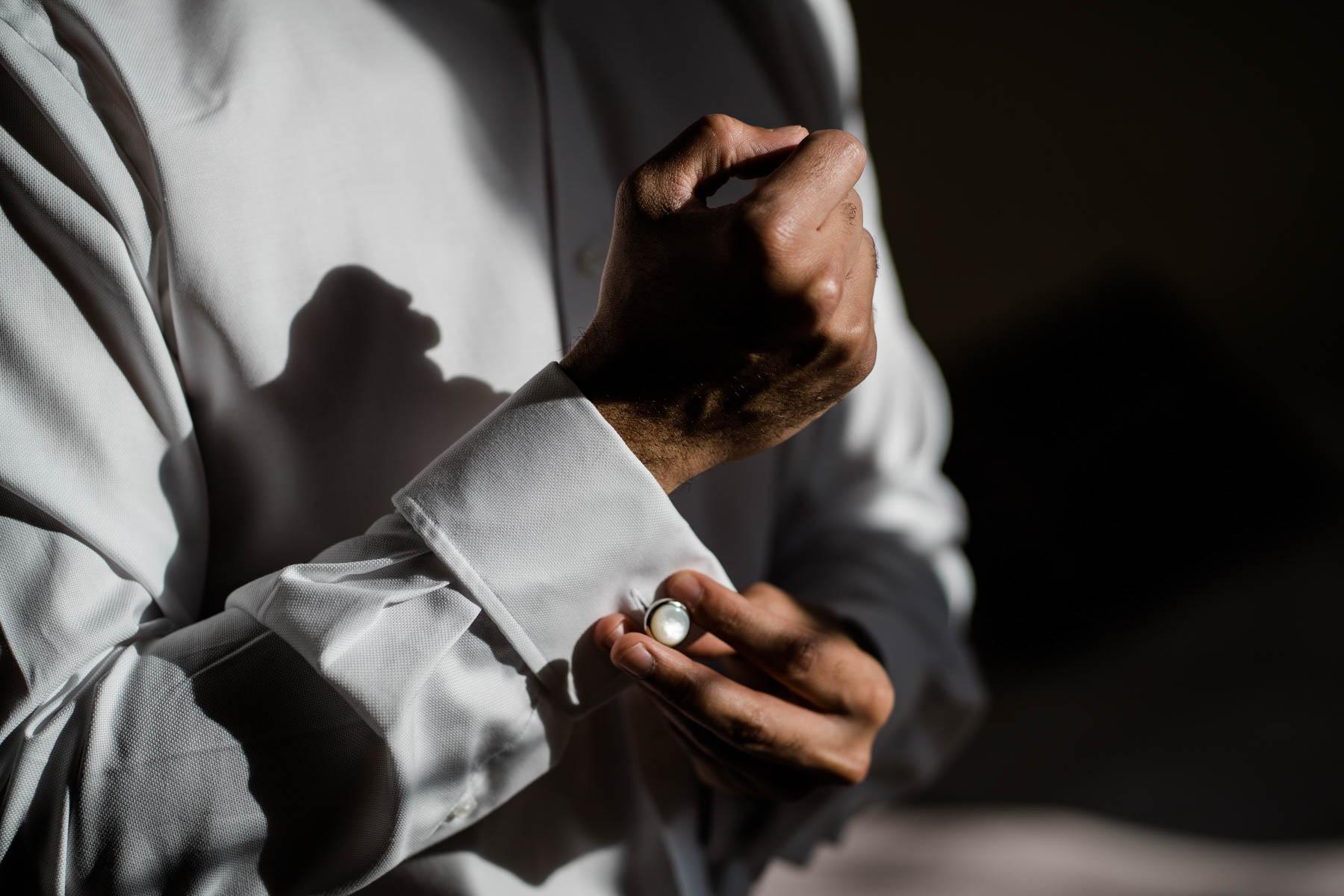 Eshott Hall Wedding Photographer   cuff links groom