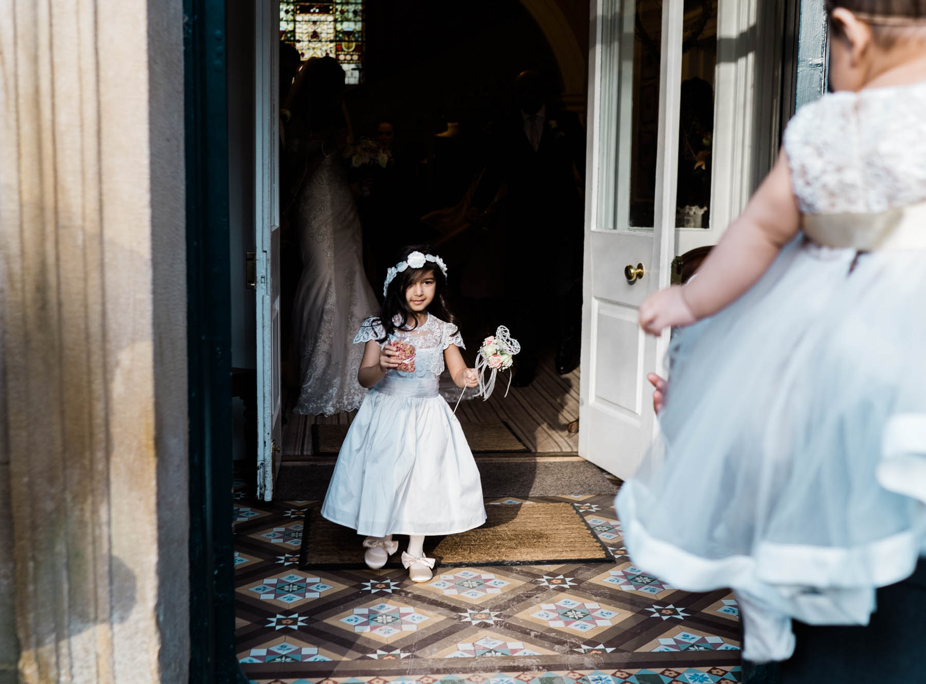 Eshott Hall Wedding Photographer | wedding ceremony flower girl