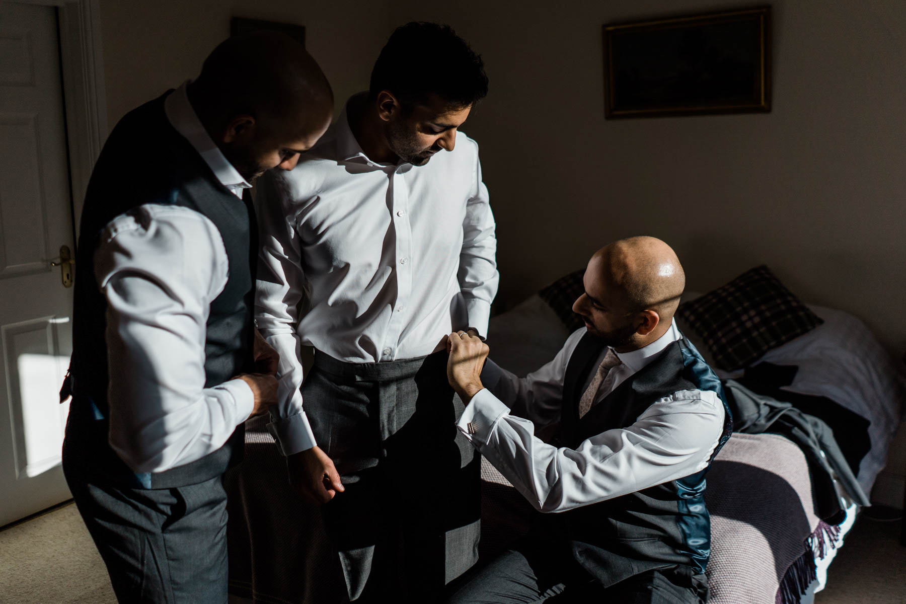 Eshott Hall Wedding Photographer | Groom preperations