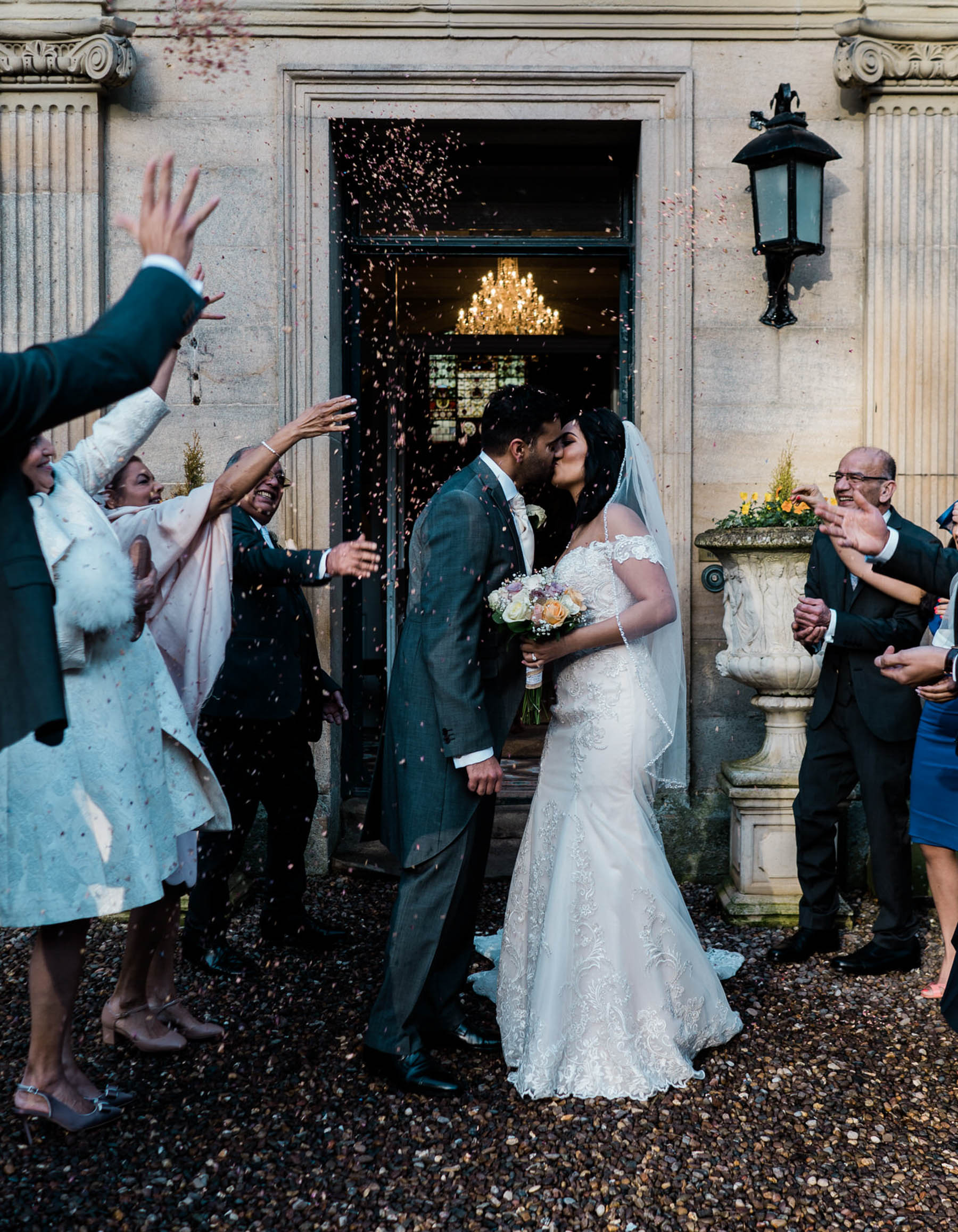Eshott Hall Wedding Photographer | confetti kiss