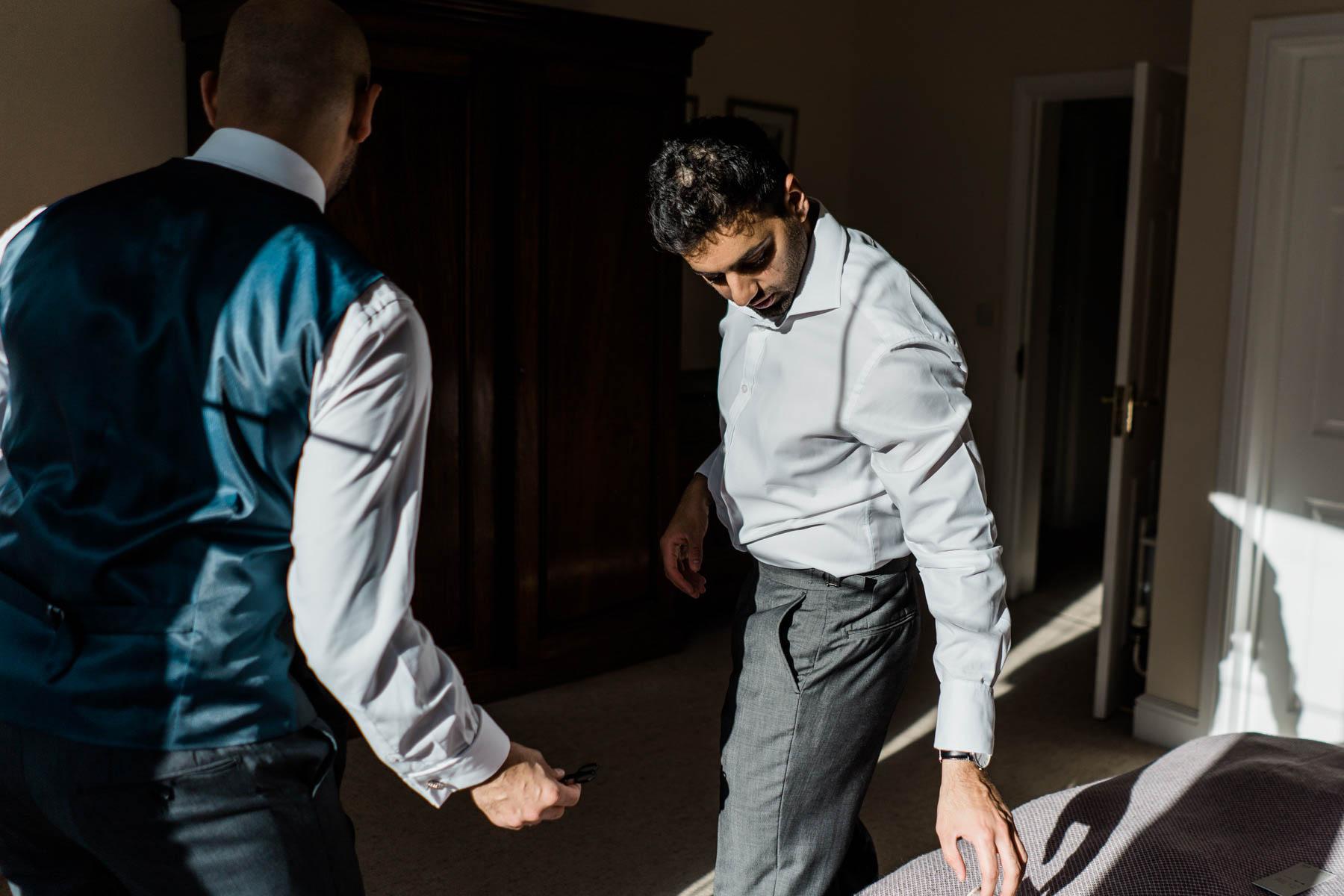 Eshott Hall Wedding Photographer   groom prep