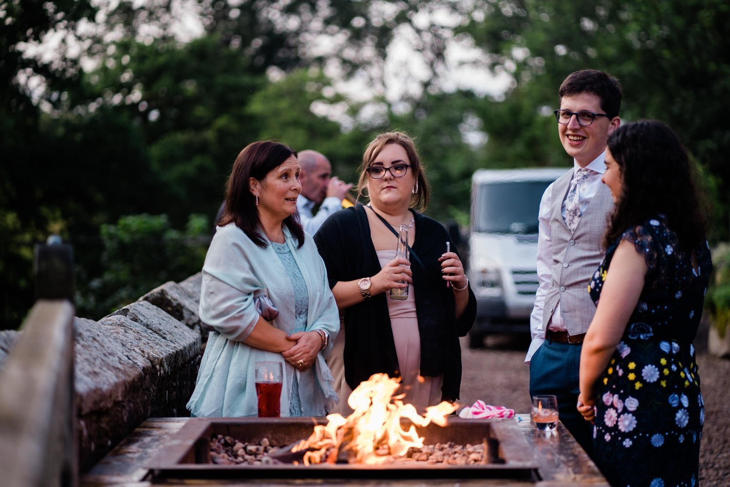 evening reception fire pit - london wedding photographer